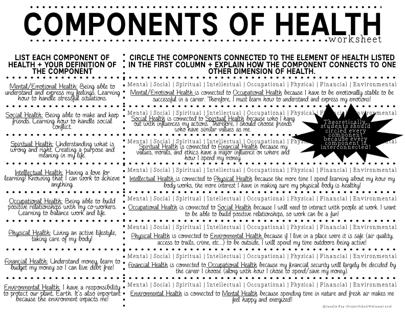 Worksheet Health And Wellness Worksheets components of health lesson plans part 1 project school wellness i gave them the worksheet shown below on this assessment students were asked to sh