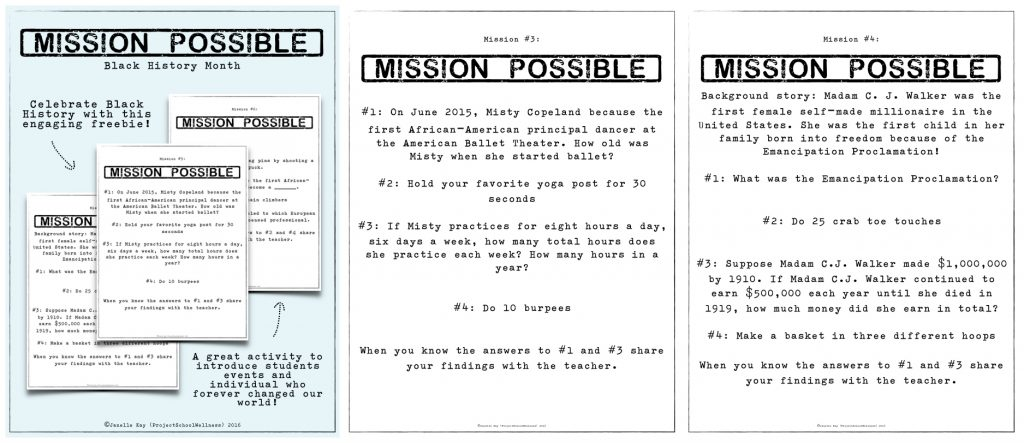 Mission Possible Black History Month Activity