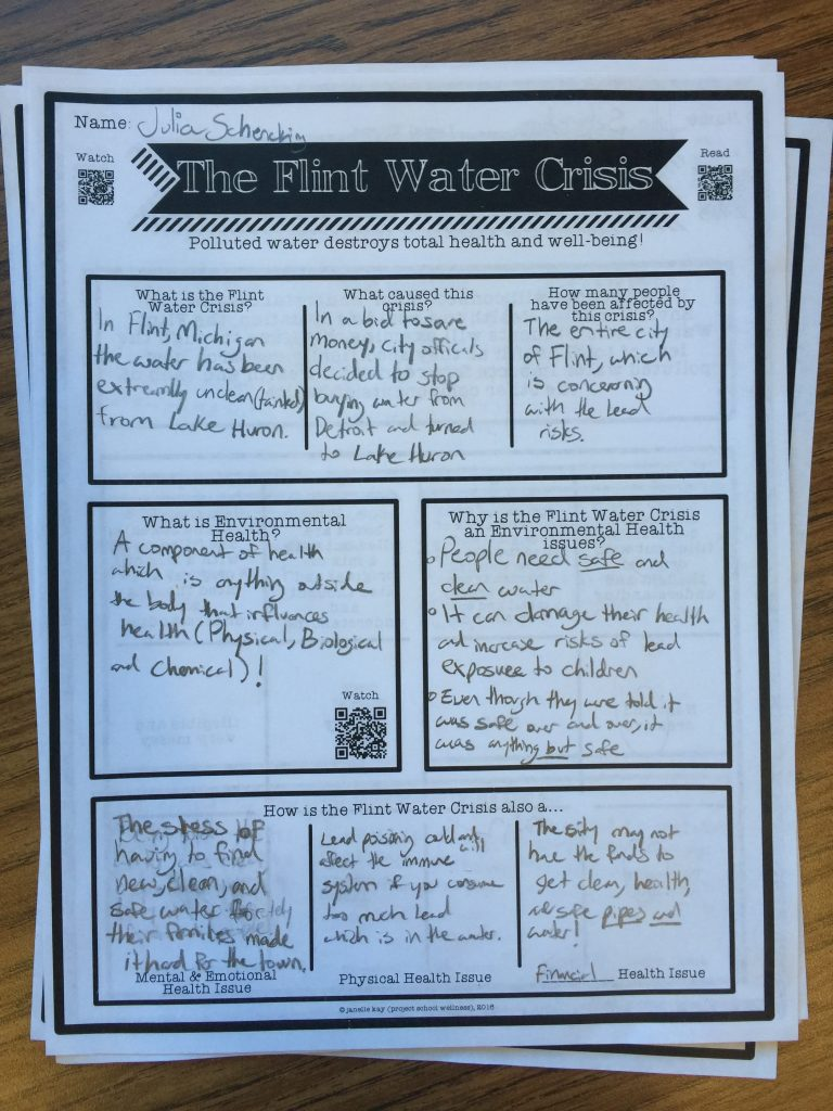 Flint Water Crisis, Health Education, Lesson Plans, TPT, Project School Wellness, Environmental Health, Components of Health, Dimensions of Health