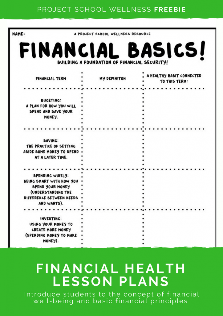 Teach your students about basic financial principles and teach students how to build financial stability! This Project School Wellness freebie is a must have for any middle school teacher! This free low prep lesson plan comes with everything you need - an instruction video, a teaching PowerPoint, detailed directions, answer key with examples, and grading rubrics. This could easily be used as sub lesson plans!
