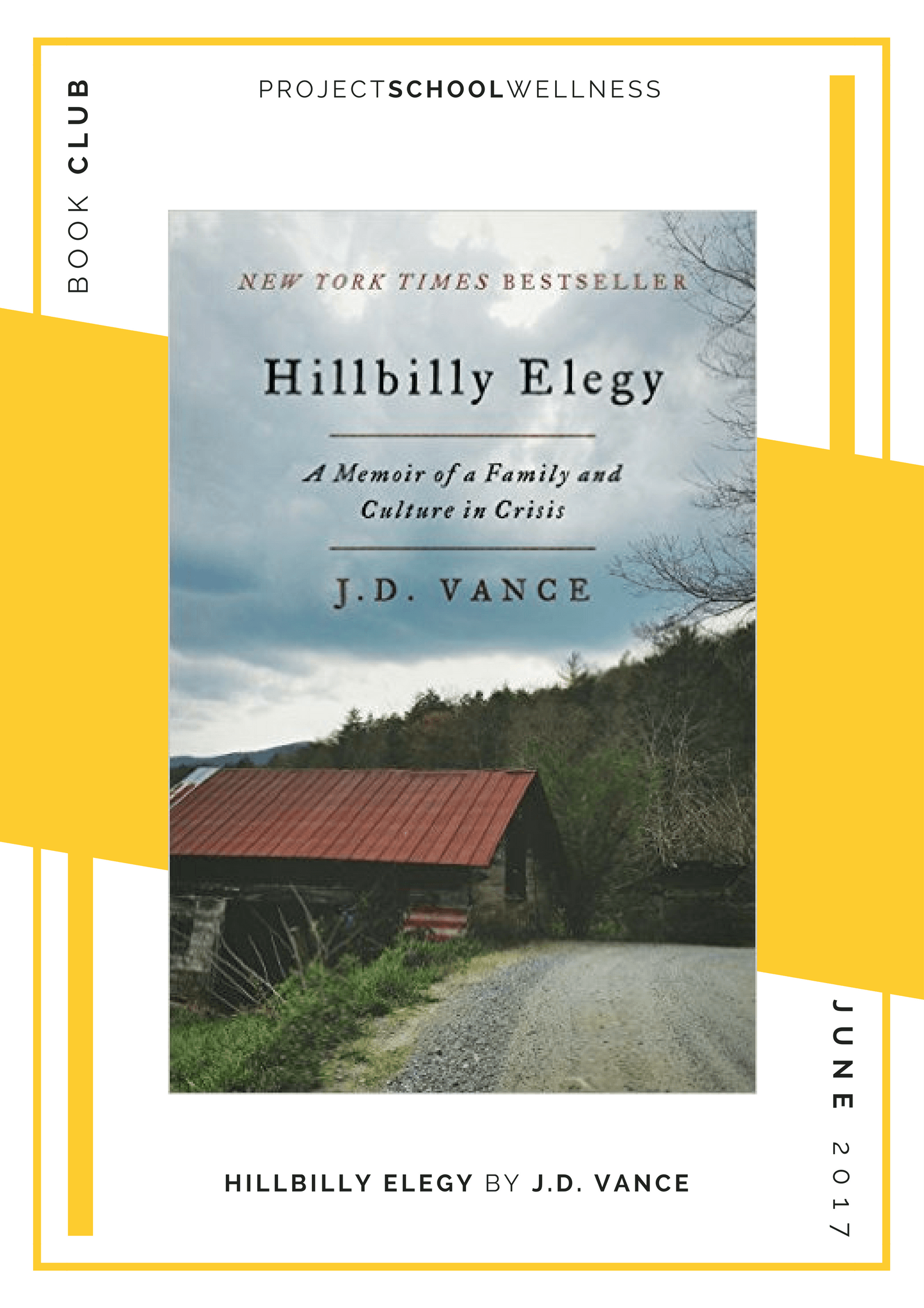 Project School Wellness book club. A list of must read books for teachers and parents! Each month Janelle from Project School Wellness her most current reads. Learn about an often overlooked and underrepresented population in J.D. Vance's memoir, Hillbilly Elegy.