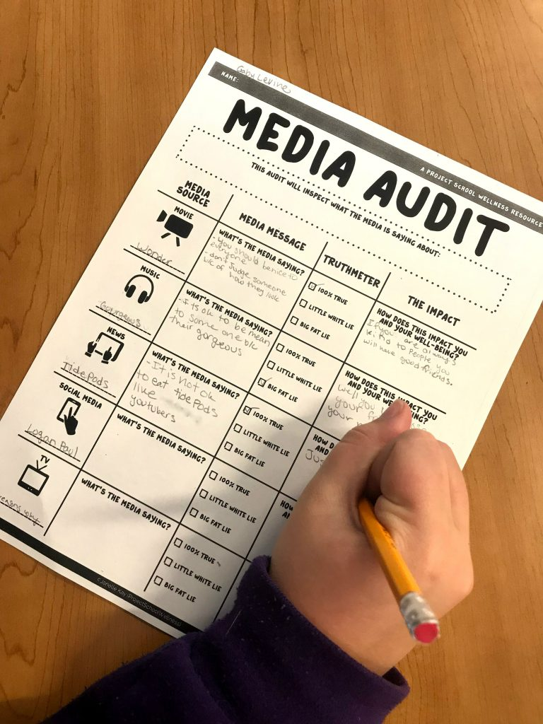 Teach students how to think critically about the media messages they consume. Media Audit - a free resource and lesson plan for Middle School Teachers from Project School Wellness.