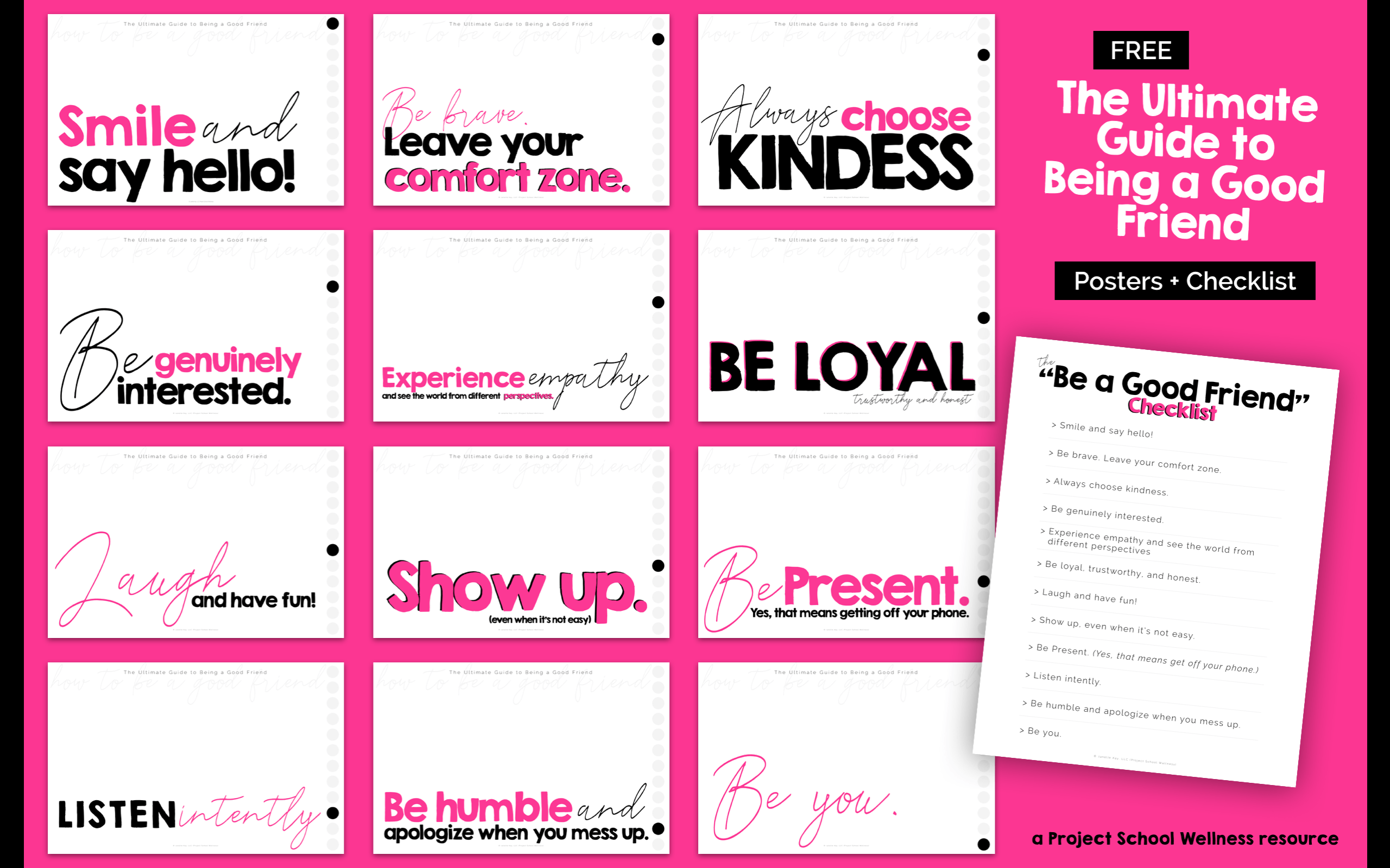 Free Classroom Posters - How to be A Good Friend. Use these posters in your classroom to promote being a good friend. Each poster features a social habit connected to being a good friend. These free classroom posters are perfect for any middle school classroom across the curriculum. Head over to Project School Wellness to download and print your posters.