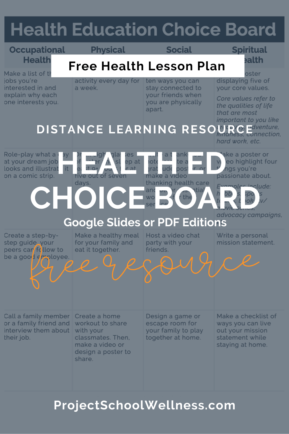 Free Health Lesson Plan - Health Education Choice Board - Digital Learning Resource - Google Classroom resource with Google Slides and PDF worksheets - Project School Wellness