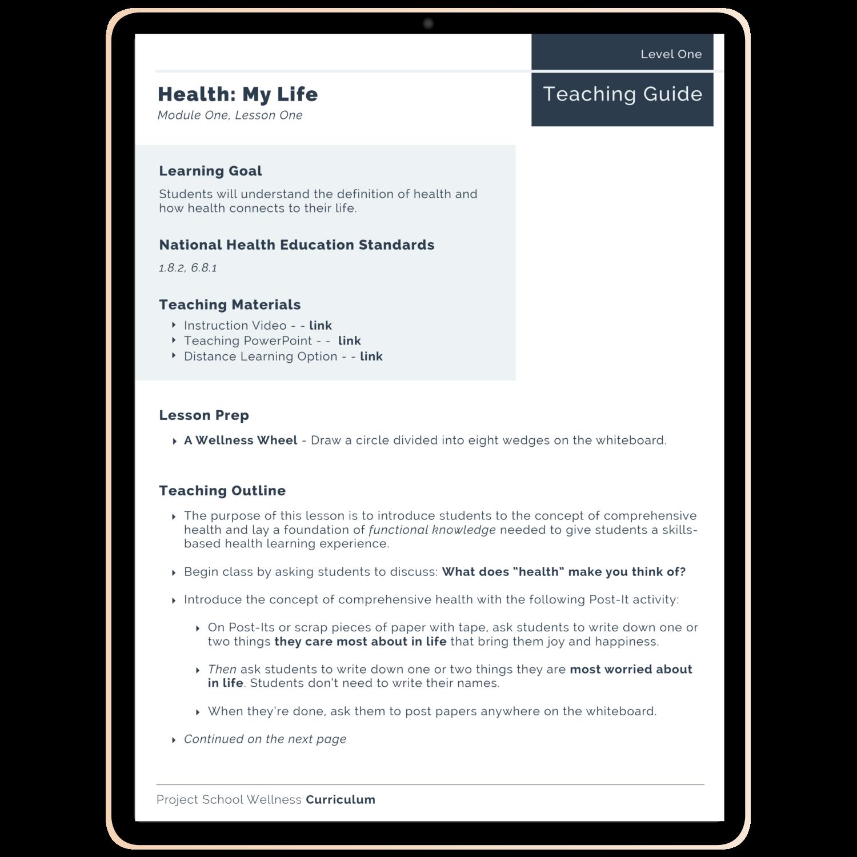 Project School Wellness Curriculum - A skills-based health education curriculum